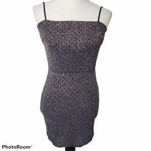 Windsor Black Sparkle Bodycon Slip Mini Dress S